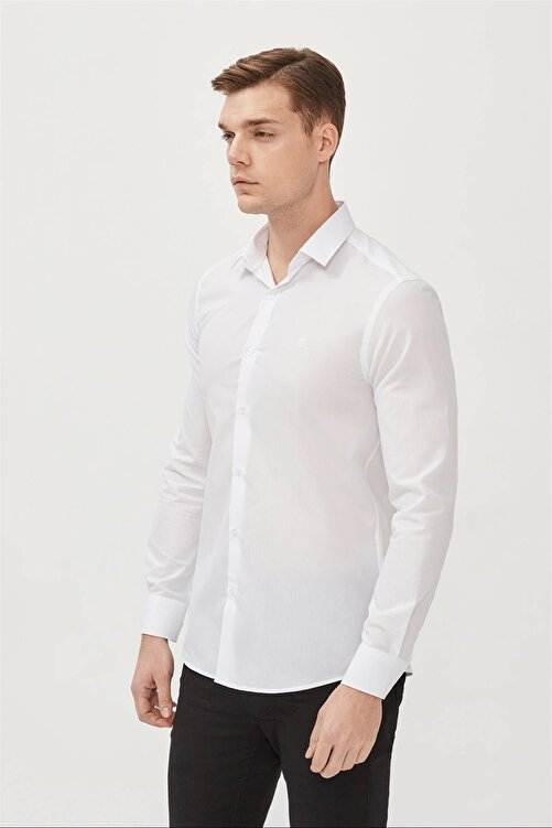 Avva Erkek Beyaz Düz Klasik Yaka Slim Fit Gömlek E002002 1