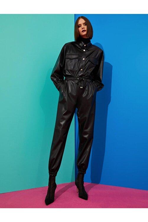 Koton Kadın Deri Görünümlü Pantolon 2