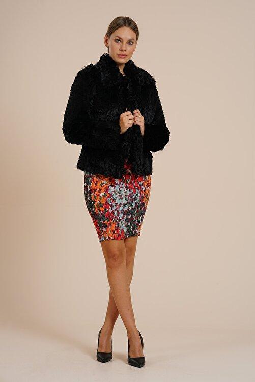 Markosin Kadın Siyah Suni Kürk Peluş Ceket 2