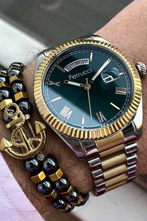 Ferrucci Erkek Gümüş Kol Saati ve Bileklik 2