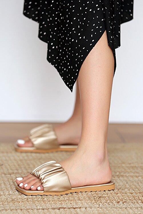 Pembe Potin Kadın Altın Sandalet 2