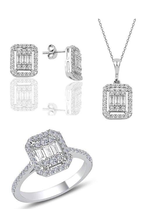 Söğütlü Silver Gümüş Baget Taşlı Üçlü Set 1
