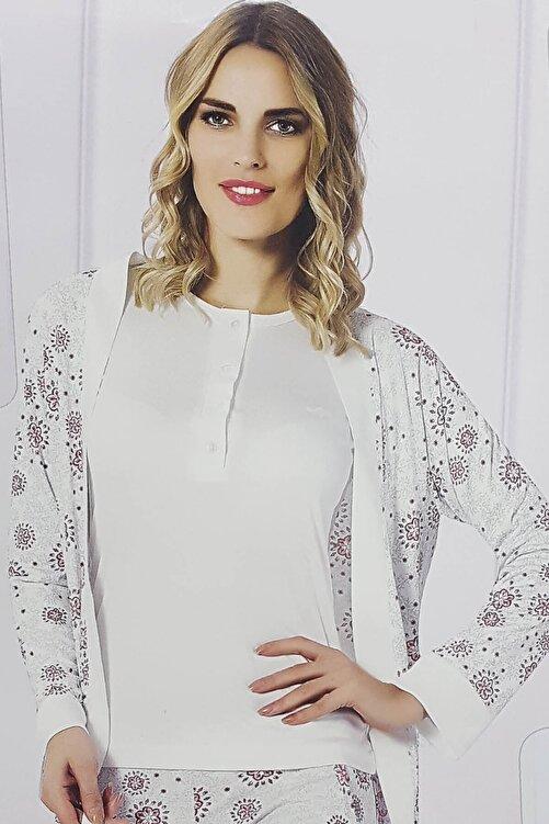 Aydoğan Homewear Kadın 3lü Sabahlıklı Cepli Kadın Kabartma Baskı Biye Detaylı Pijama Takımı 2