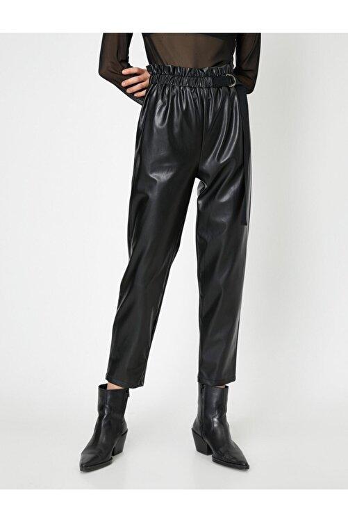 Koton Kadın Siyah Beli Büzgülü Toka Ve Kemer Detaylı Suni Deriden Pantolon 2