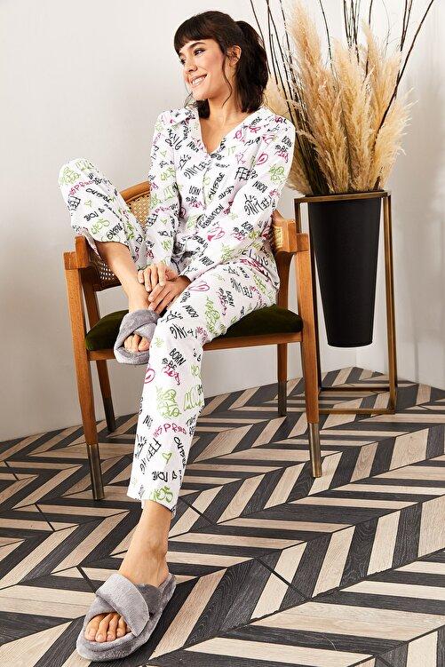 Olalook Kadın Ekru Yazılı Desenli Pijama Takımı PJM-00000002 2