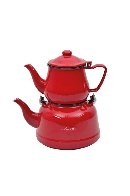 NURGAZ Kırmızı Campout Emaye Çaydanlık Set Ng180 1