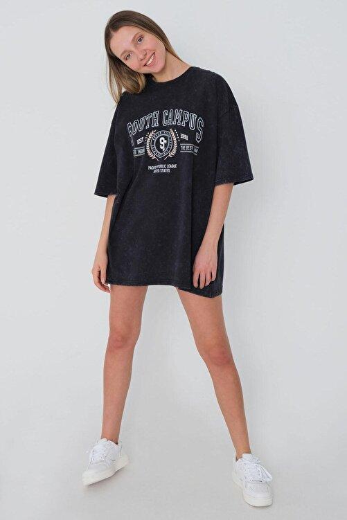 Addax Kadın Füme Oversize T-Shirt P1129 - E10 Adx-0000023763 1