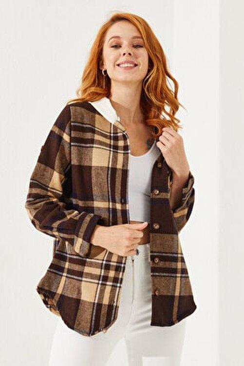 Reyon Kadın Kahverengi Kapüşonlu Ekose Gömlek 2