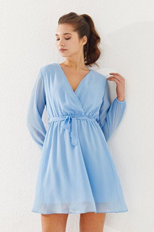 Reyon Kruvaze Yaka Bel Kuşaklı Elbise Mavi 2