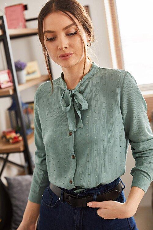 armonika Kadın Turkuaz Yakası Bağlamalı Desenli Gömlek ARM-20K001150 2