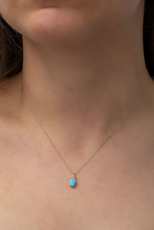 Papatya Silver Kadın 925 Ayar Oval Opal Taşlı Gümüş Rose Altın Kaplama Kolye 2