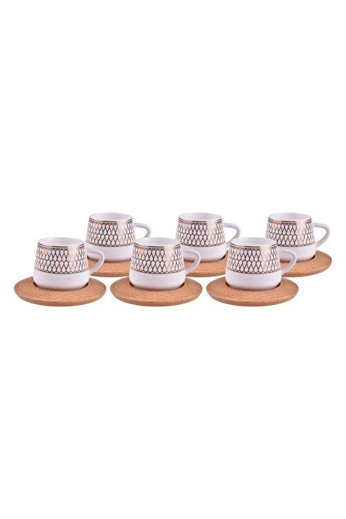 Bambum Hattat 6 Kişilik Porselen Kahve Fincan Takımı Altın B0931 1