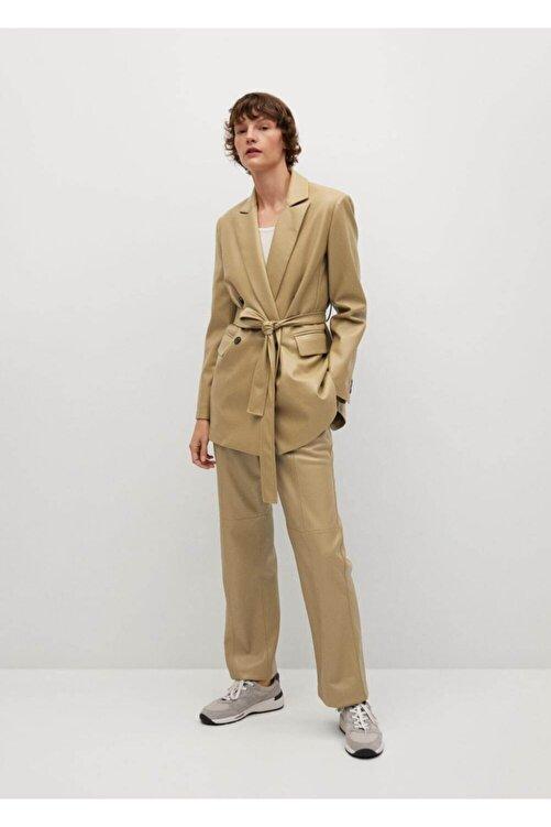 MANGO Woman Deri Görünümlü Düz Kesim Pantolon 2