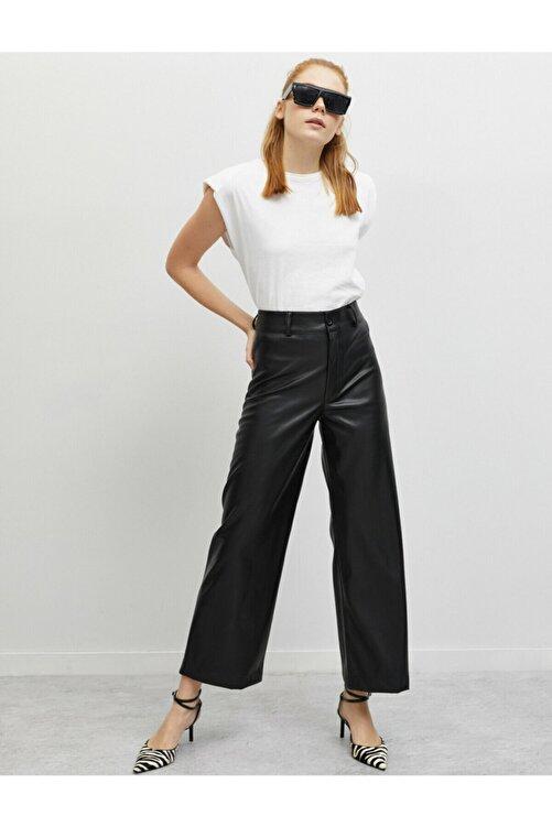 Koton Kadın Deri Görünümlü Genis Paça Pantolon 2