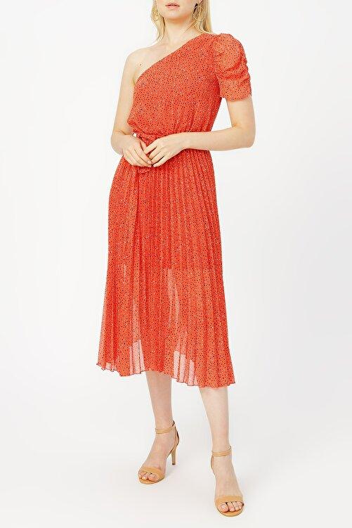 RANDOM Pilise Detaylı Tek Omuz Kırmızı Desenli Elbise %100 Polyester 1