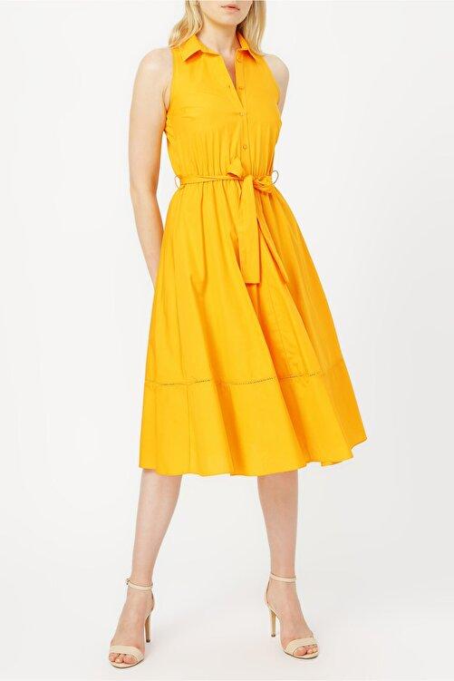 RANDOM Etek Ucu Detaylı Belden Bağlamalı Gömlek Elbise %100 Cotton 1