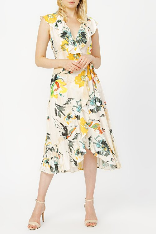 RANDOM Anvelop Kapama Volan Detaylı Desenli Elbise %100 Vıscon 1