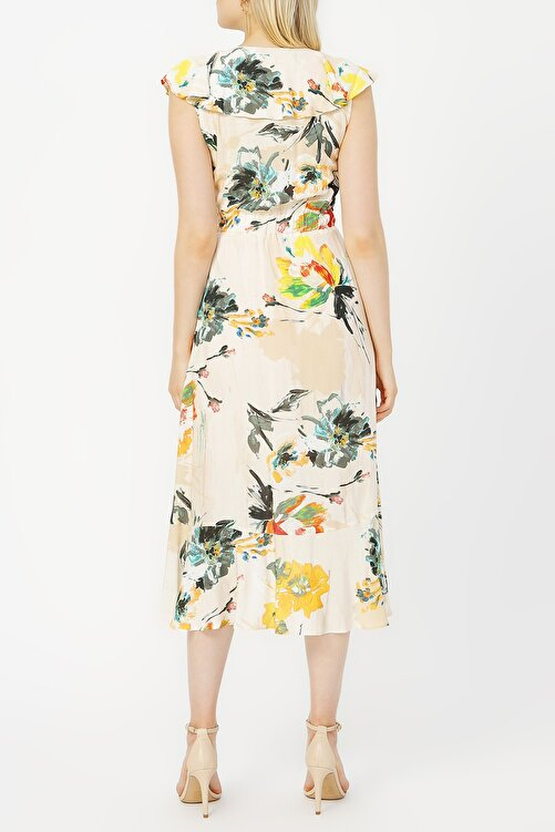 RANDOM Anvelop Kapama Volan Detaylı Desenli Elbise %100 Vıscon 2