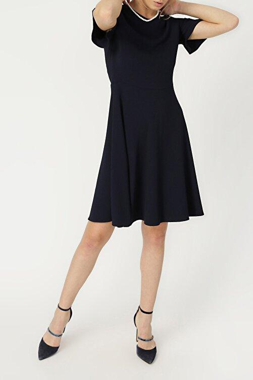 RANDOM Kadın Kolu Volan Detaylı Lacivert Elbise %98 Polyester %2 Elastane 2