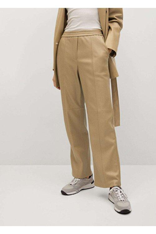 MANGO Woman Deri Görünümlü Düz Kesim Pantolon 1