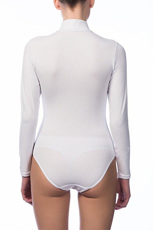 NBB Kadın Beyaz Uzun Kol Çıtçıtlı Body 2960 2
