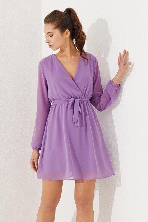 Reyon Kruvaze Yaka Bel Kuşaklı Elbise Lila 2
