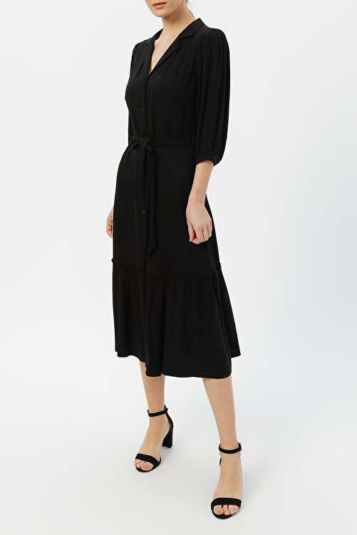 RANDOM Kadın Truvakar Kol Belden Bağlamalı Elbise %100 Vıscon 2