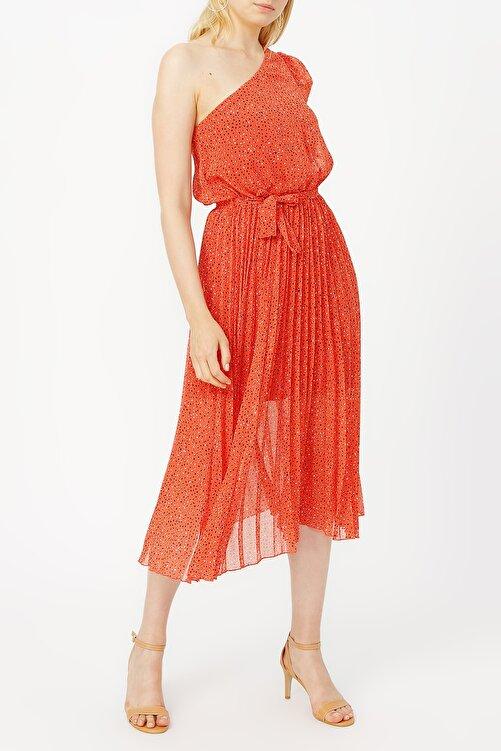 RANDOM Pilise Detaylı Tek Omuz Kırmızı Desenli Elbise %100 Polyester 2