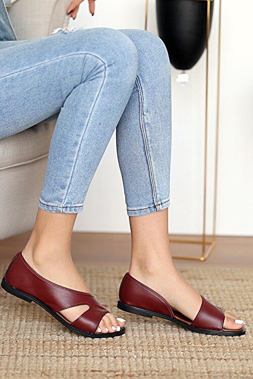 Pembe Potin Kadın Bordo Sandalet 1