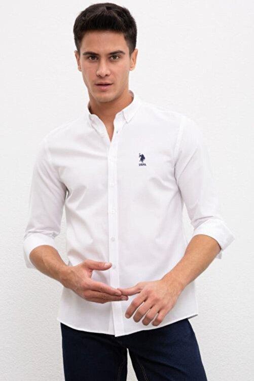 U.S. Polo Assn. Erkek Beyaz Uzun Kollu Gömlek 2