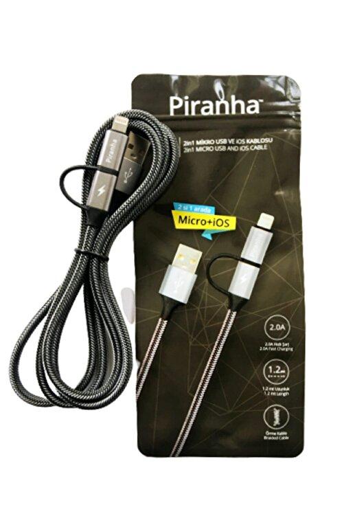 Piranha Micro Usb - Ios Lightining Usb Data&şarj Kablosu 2.0a 1.2m.- Hızlı Şarj 2