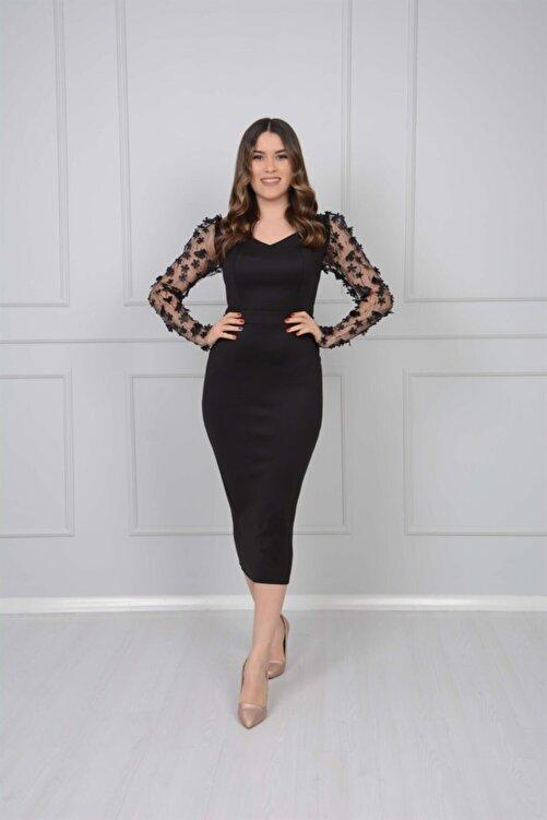 giyimmasalı Scuba Kumaş Kolları 3 Boyutlu Çiçekli Kalem Elbise - Siyah 1