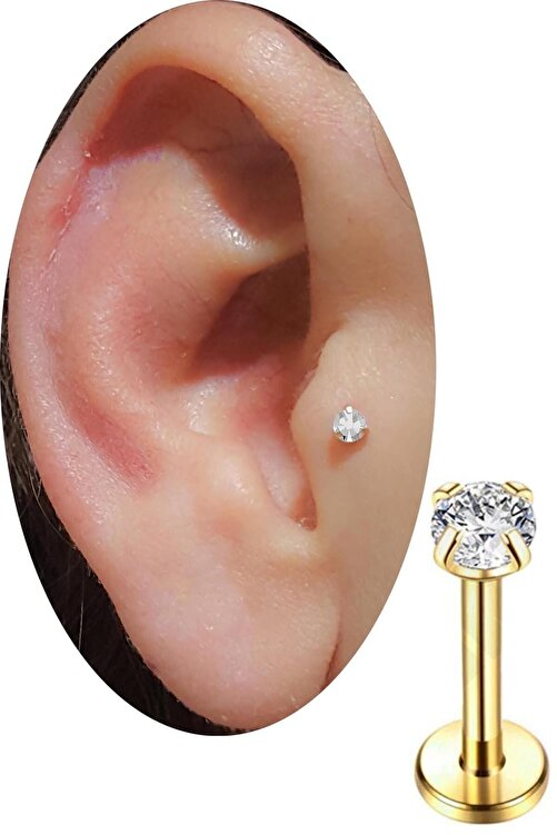 SHESTAKI Gold Renkli Taşlı Tragus Helix Cerrahi Çelik Kulak Kıkırdak Piercing 8 mm 1