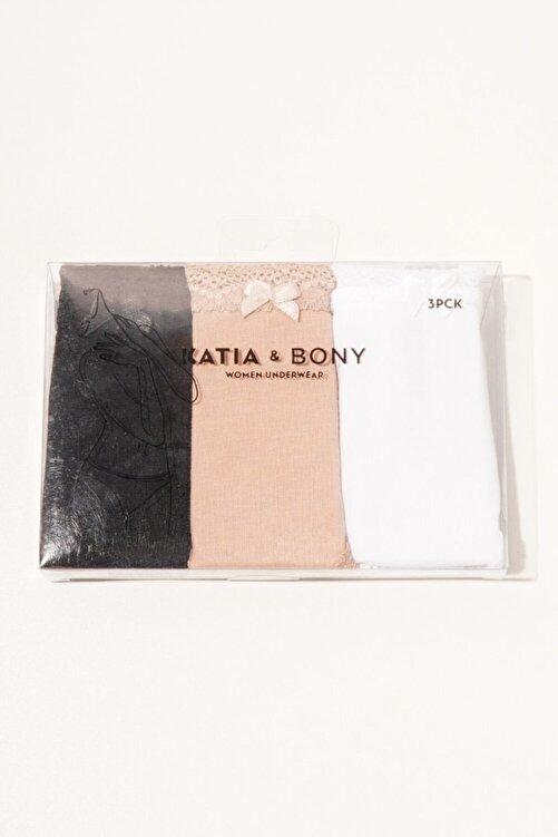 Katia&Bony 3 ' Lü Paket Natural Modal Lace Kadın Slip - Siyah/beyaz/ten 2