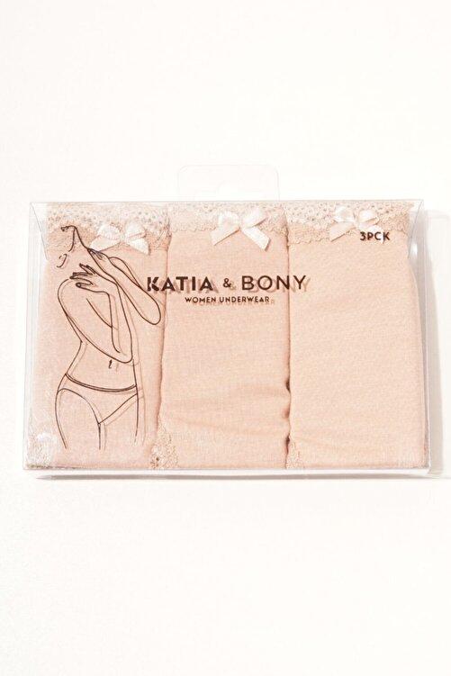 Katia&Bony 3 ' Lü Paket Natural Modal Lace Kadın Slip - Ten/ten/ten 2