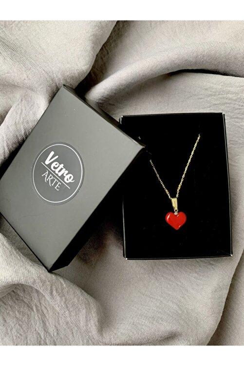 Vetro Arte Altın Kaplama 925 Ayar Gümüş El Yapımı Cam Kırmızı Kalp Kolye 2