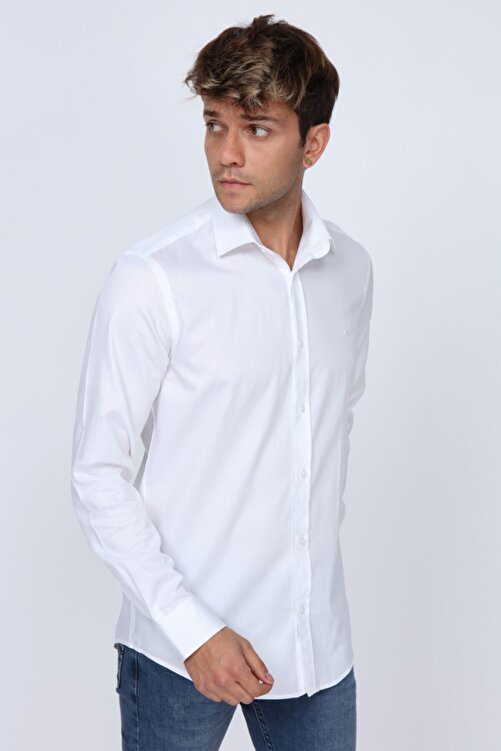 Abbate Kumaş Detaylı Slim Fit Beyaz Erkek Gömlek 2