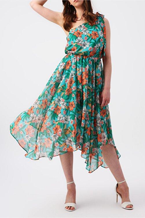 RANDOM Kadın Eteği Asimetrik Tek Omuzlu Çiçek Desenli Elbise 1