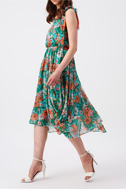 RANDOM Kadın Eteği Asimetrik Tek Omuzlu Çiçek Desenli Elbise 2