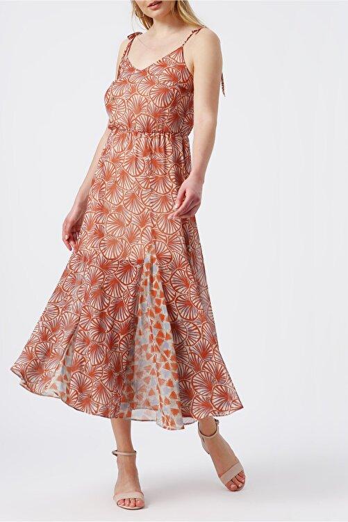 RANDOM Kadın Beli Lastikli Desenli Elbise 2