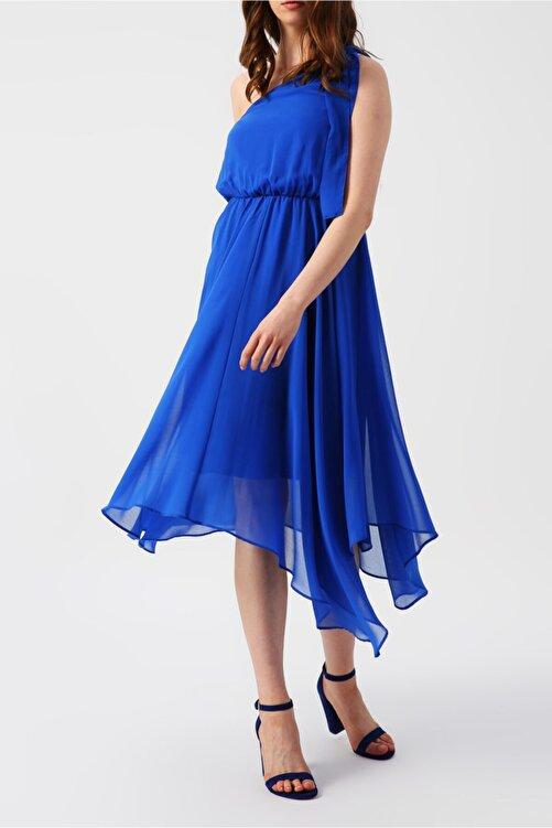 RANDOM Kadın Eteği Asimetrik Tek Omuzlu Mavi Elbise 2