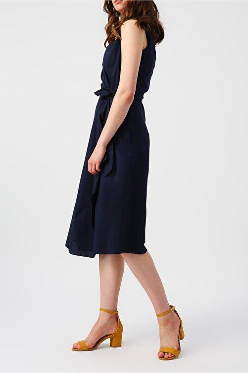 RANDOM Kadın Lacivert Beli Bağlamalı Kruvaze Kolsuz Midi Elbise 2