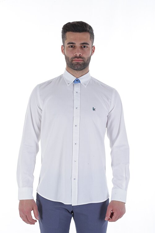 Diandor Uzun Kollu Erkek Gömlek Beyaz/White 1912007 1