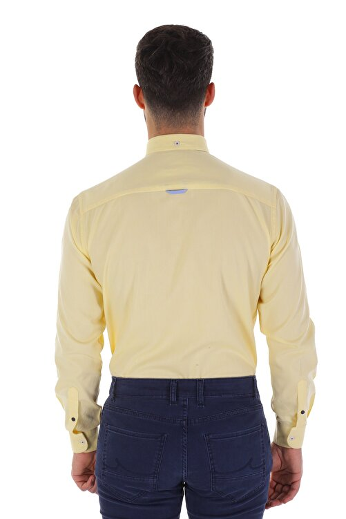 Diandor Uzun Kollu Erkek Gömlek Sarı/Yellow 1912007 2
