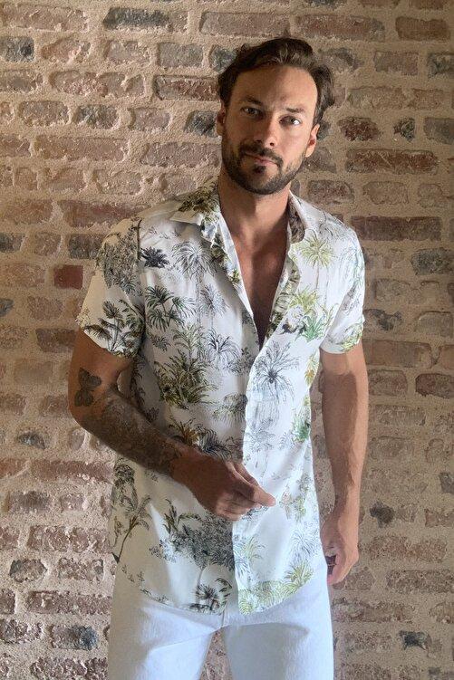 TRENDYOL MAN Beyaz Erkek Regular Fit Gömlek Yaka Kısa Kollu Desenli Gömlek TMNSS20GO0127 1