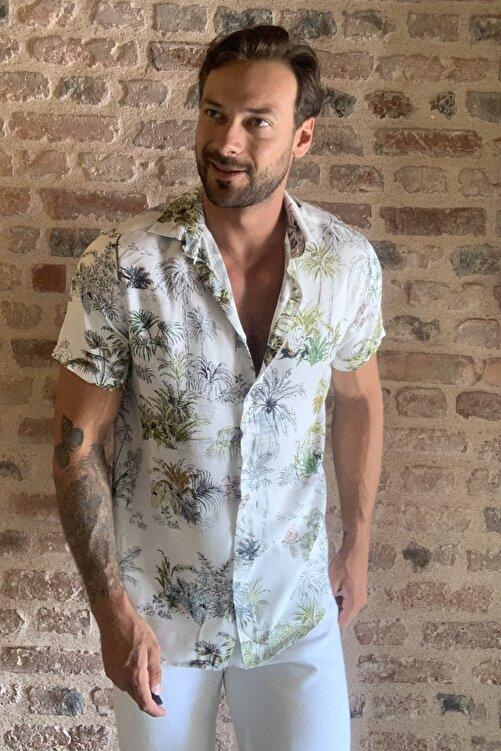 TRENDYOL MAN Beyaz Erkek Regular Fit Gömlek Yaka Kısa Kollu Desenli Gömlek TMNSS20GO0127 2