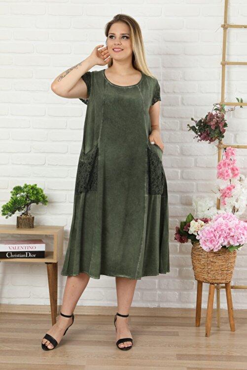 LİKRA Kadın Haki Yeşil Büyük Beden Kolu Cebi Güpür Detay Lı Yıkamalı Viskon Elbise 2