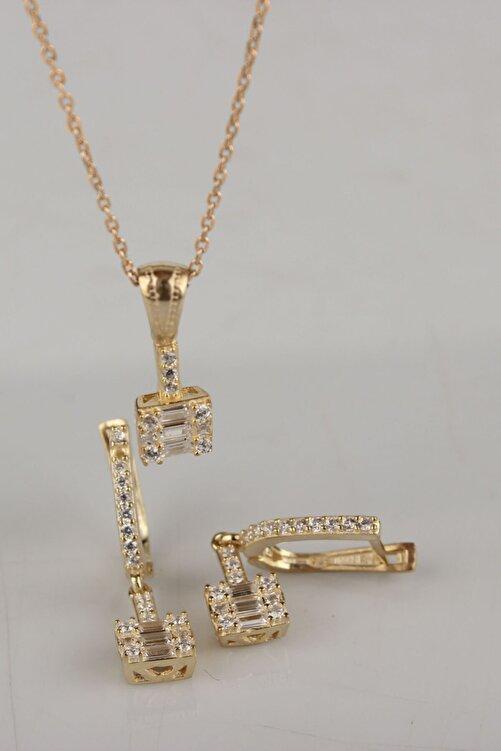 Tmec Silver 925 Ayar Gümüş Baget Taşlı Gold Renk Küpe Ve Kolye Takım 1