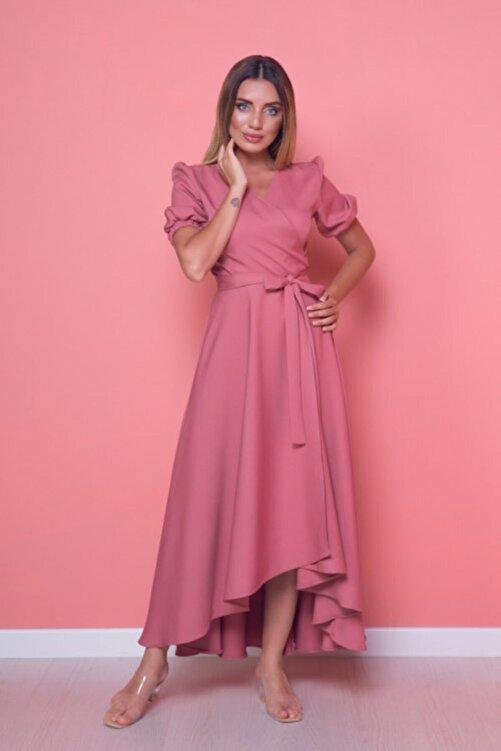 Bidoluelbise Kadın Gül Kurusu Büyük Beden Asimetrik Kesim Elbise 2