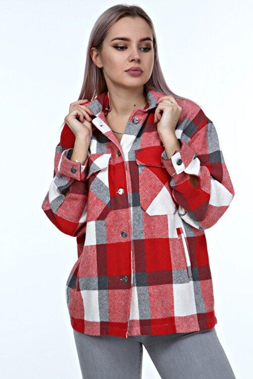 AREMTEX Kadın Cep Detaylı Oduncu Gömlek Ceket Büyük Beden 1
